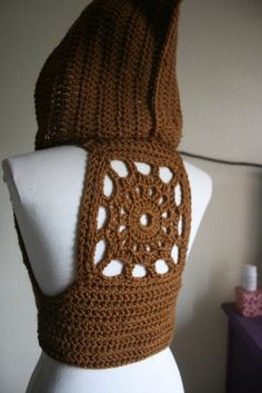 a89b9caafcd Gold Brown Mandala Pixie vest with hood by MojoRisinSpirit Hooded Vest