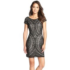 Pre-owned Adrianna Papell Beaded Sheath Dress ($220) ❤ liked on Polyvore featuring dresses, black, holiday cocktail dresses, holiday party cocktail dresses, special occasion dresses, holiday party dresses and evening party dresses