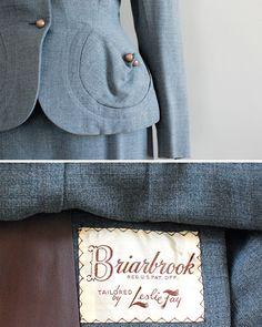 Pocket detail.  1950s wool gabardine suit, via DearGolden on Etsy.