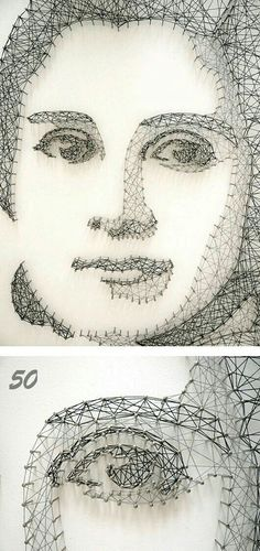 Great series of intricate thread portraits created by Pamela Campagna and her husband Thomas Scheiderbauer of L-able. via Colossal L-able's website Hilograma Ideas, Arte Linear, Linear Art, Nail String Art, Prego, Thread Art, Unusual Art, Art Plastique, Installation Art