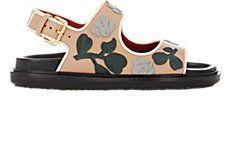 Floral-Appliqué Double-Band Sandals