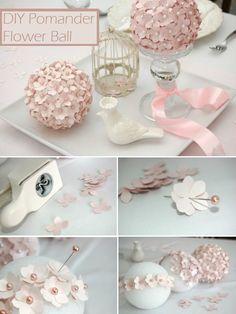 DIY Pomander Flower Ball http://weddingideasbyyou.com/2014/03/27/diy-pomander-flower-ball/ Follow Us on Pinterest --> http://www.pinterest.com/weddingideasbyu/