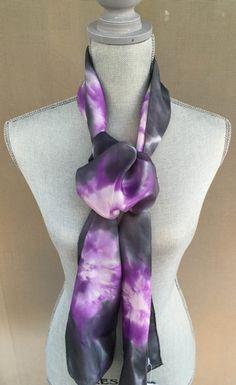 SCARF Handmade Silk Scarf Midnight Black Lavender by KFArtistry