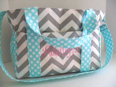 Mom- Extra Large Diaper Bag Made - Chevron and Aqua Fabrics - Elastic Pockets - Diaper Bag - Messenger Bag - Tote Bag - Personalized on Etsy, $99.00