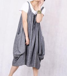 Leap of the heart/ Lovely dark gray linen dress by MaLieb on Etsy
