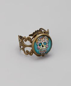 Take a look at this Turquoise & White Sugar Skull Ring by Gleeful Peacock on #zulily today!