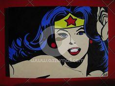 Quadro Pop Art cartoni animati su richiesta, Wonder Woman, Cat's Eye, Topolino, Lupin, Diabolik, dipinto a mano su tela con colori ad olio by azzumail #italiasmartteam #etsy