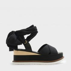 Black Scarf Wrap Ankle Strap Flatforms |CHARLES & KEITH
