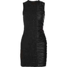 """Shop Women's Alexander Wang size 4 Dresses at a discounted price at Poshmark. Description: Beautiful Alexander Wang Leather Dress! Seriously amazing attention to detail with one side having a """"woven effect"""" and the other side with rushing. Zips up the back. Has a tight, mini dress fit. Size 4. Outer is 100% leather (lamb), and lining is 83% nylon, 17% polyurethane. Measurements: bust: 27"""", waist: 26"""", total length: 33"""". Like new, only worn once! Please just ask fo..."""