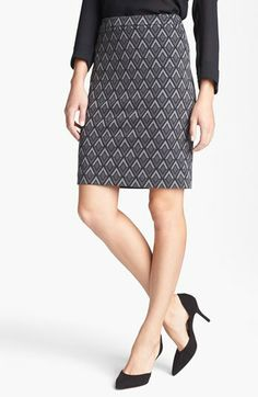 Halogen® Ponte Pencil Skirt (Regular & Petite) | Nordstrom - love the black and grey geometric print