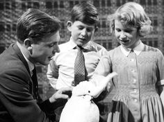 David Attenborough with Prince Charles, Princess Anne and his pet cockatoo at the BBC London 1950's.