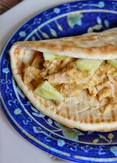 Hummus Chicken on Pita | What a delicious slow cooker meal!