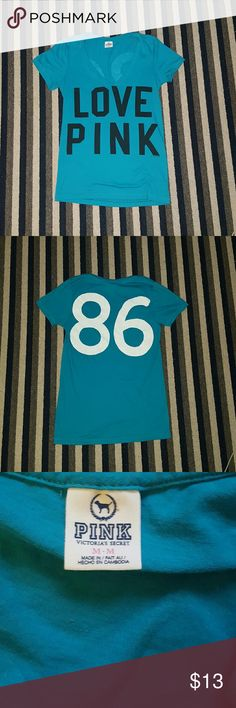 NWOT PINK v-neck Never worn in perfect condition! Has love pink on the front with 86 on the back SUPER soft fabric and very adoreable! Darker neon blue color Comes from a smoke and pet free home! :) PINK Victoria's Secret Tops Tees - Short Sleeve