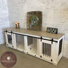Double Den w/Sliding Barn Doors Modern Dog Houses, Dog Crate Furniture, Door Storage, Storage Drawers, Pet Storage, Wood Dog, Dog Bed, New Homes, Barn Doors