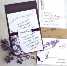 Lavender In Love - Wedding Invitation - Romantic Purple, Plum, Rustic Gray, Taupe - DEPOSIT. $100.00, via Etsy.    Pretty purple wedding stationary