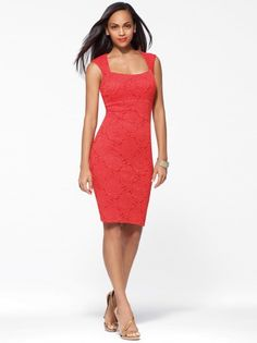 Orange Lace Sheath Dress #CacheStyle  I need this dress for a wedding next month
