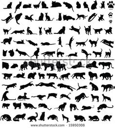 100 silhouettes of big and small cats. Would get the 5th one to the right for Gigi... So fluffy