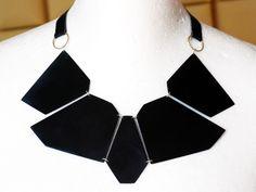 """IFS"" necklace: colored metal, silver, brass, leather https://www.facebook.com/photo.php?fbid=560430337410699&l=f6b7933776 Jewelry designer:Paulina Makowska / SZMER-craft Projektantka: Paulina Makowska / SZMER-craft"