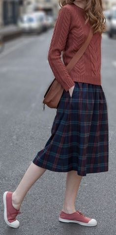 sweater and plaid skirt