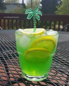BAHAMA VACATION 2 oz. (60ml) Midori 2 oz. (60ml) Ty Ku Sake Green 2 oz. (60ml) Orangeade Limonade  2 oz. (60ml) Vodka Lemon Slices