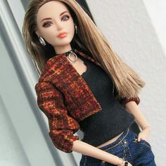 #barbie#dolls#world#latest#fashion#wear#black#and#red#check#jacket#with#blue#jens#looking#great#swag#and#clicks#photos#like#comment#follow#my#page#and#like#my#post#barbie#dolls#world#instgram