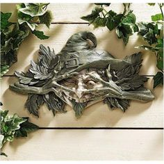 The Poison Ivy Forest Witch: Greenman Wall Sculpture, Gray