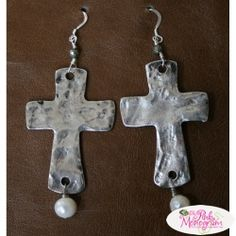 Freshwater Pearl and Sterling Silver Cross Earrings I Love Jewelry, Jewelry Box, Jewelry Ideas, Cross Earrings, Sterling Silver Cross, Monogram Gifts, No Frills, Jewels, Stone