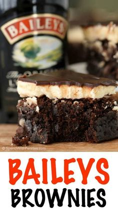 Baileys Brownies: Rich fudgy brownies with a fluffy buttery Baileys frosting and topped with a rich boozy Baileys chocolate ganache. These are definitely the best brownies we've ever had! ~ Spend With Pennies Irish Desserts, Easy Desserts, Delicious Desserts, Yummy Food, Bailey Brownies, Best Brownies, Fudgy Brownies, Boxed Brownies, Homemade Brownies