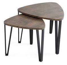 Jalat maalattua metallia, kannet ruskeaksi pinnoitettua mdf-levyä. Suuremman pöydän koko 56 x 53 x 45 cm ja pienemmän pöydän...