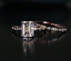 Rose Gold Morganite Ring Morganite Engagement Ring Pink Morganite Emerald cut and Diamond Wedding Ring Set Engagement and Hochzeitskleid - wedding and engagement 2019 Custom Wedding Rings, Wedding Rings Rose Gold, Wedding Rings Vintage, Engagement Solitaire, Antique Engagement Rings, Rectangle Engagement Rings, Emerald Cut Diamond Engagement Ring, Emerald Diamond, Sapphire