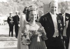 "princess-ingrid-alexandra: "" Crown Princess Sonja and Crown Prince Harald at the wedding of Princess Christina of Sweden, on June 15, 1974 in Stockholm, Sweden. """