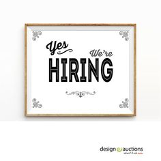 yes we re hiring sign printable instant download business signage