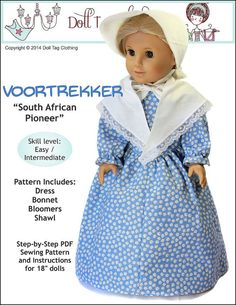 Pixie Faire Doll Tag Clothing Voortrekker Doll Clothes Pattern for 18 inch American Girl Dolls - PDF Costume Patterns, Doll Clothes Patterns, Pdf Sewing Patterns, Doll Patterns, Clothing Patterns, Crochet Patterns, Dress Patterns, Sewing Dolls, Ag Dolls