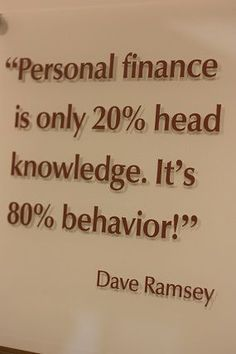 Image result for Finances 80% Behavior and 20% Head Knowledge