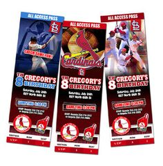 St Louis Cardinals BIRTHDAY PARTY INVITATION BASEBALL ANY TEAM TICKET