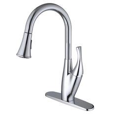 Single-handle Pull-down Deck-mounted Chrome Finish Kitchen Faucet