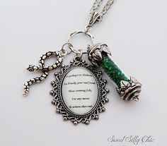 Slytherin Long Necklace, Harry Potter Hogwarts Slytherin House Points Quote Necklace, Harry Potter Jewelry Gift