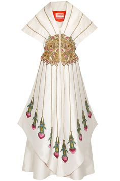 Ivory thread and zari embroidered kimono style dress available only at Pernia's Pop Up Shop. Kimono Style Dress, Kimono Fashion, Latest Designer Sarees, Designer Dresses, Indian Dresses, Indian Outfits, Salwar Kameez, Alexander Mcqueen Savage Beauty, Samant Chauhan