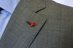 Isaia Red Coral Lapel Pin