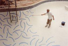 David Hockney painting his pool