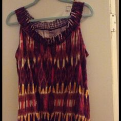 Tank top pink burgundy yellow Lane Bryant tank pinks burgundy yellow tie at chest elastic bottom 60% cotton size 14/16 new with tags Lane Bryant Tops Tank Tops