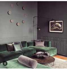 Green Velvet Sofa And Grey Walls Home Living Room Green