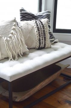 I love the texture of the pillows in this autumn vignette from The Nesting Place! home design, chair & seating idea Boho Cushions, Diy Pillows, Couch Pillows, Decorative Pillows, Camping Pillows, Knitted Cushions, White Cushions, Chair Cushions, Handmade Home