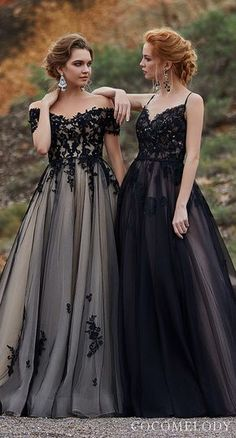 8b8201b873 Black Colored wedding dresses by CocoMelody | Black ball gown princess  wedding dresses with lace bodice
