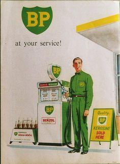 BP Photos Vintage Advertisements, Vintage Ads, Vintage Posters, Bp Gas, Gas Station Attendant, Old Dodge Trucks, Pompe A Essence, Vintage Gas Pumps, Old Garage