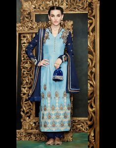 Sky Blue Georgette Pakistani Style Suit 61138