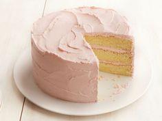 Lemon Chiffon Cake with Strawberry Frosting