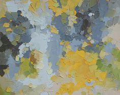 Je suis une pierre pour vous, alors le soleil - Original peinture à l'huile abstraite (40x60cm -. Application 16x24in) en jaunes frais, verts et gris de pierre douces