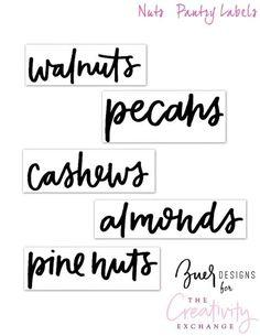 Free Printable Pantry Labels Nuts