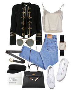 """Untitled #22212"" by florencia95 ❤ liked on Polyvore featuring NARS Cosmetics, Isabel Marant, Levi's, Yves Saint Laurent, Ray-Ban, Gucci, Superga, Erika Cavallini Semi-Couture and Chanel"